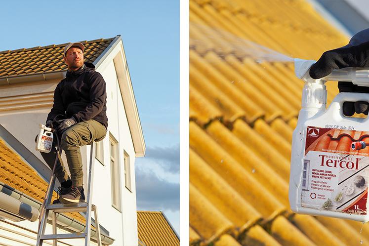 Tvättar tak med Tercol ejektor